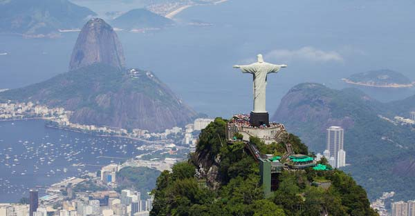 Aerial view of Christ Redeemer and Corcovado Mountain  brazil